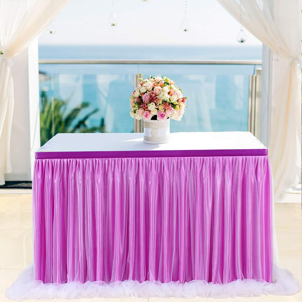 Buy Saideng Purple Color Long Yarn Table Skirt With Threaded Ribbon Party Online At Low Prices In India Amazon In