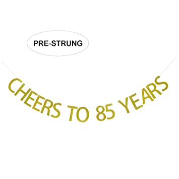 Gold Glitter Cheers To 85 Years Banner