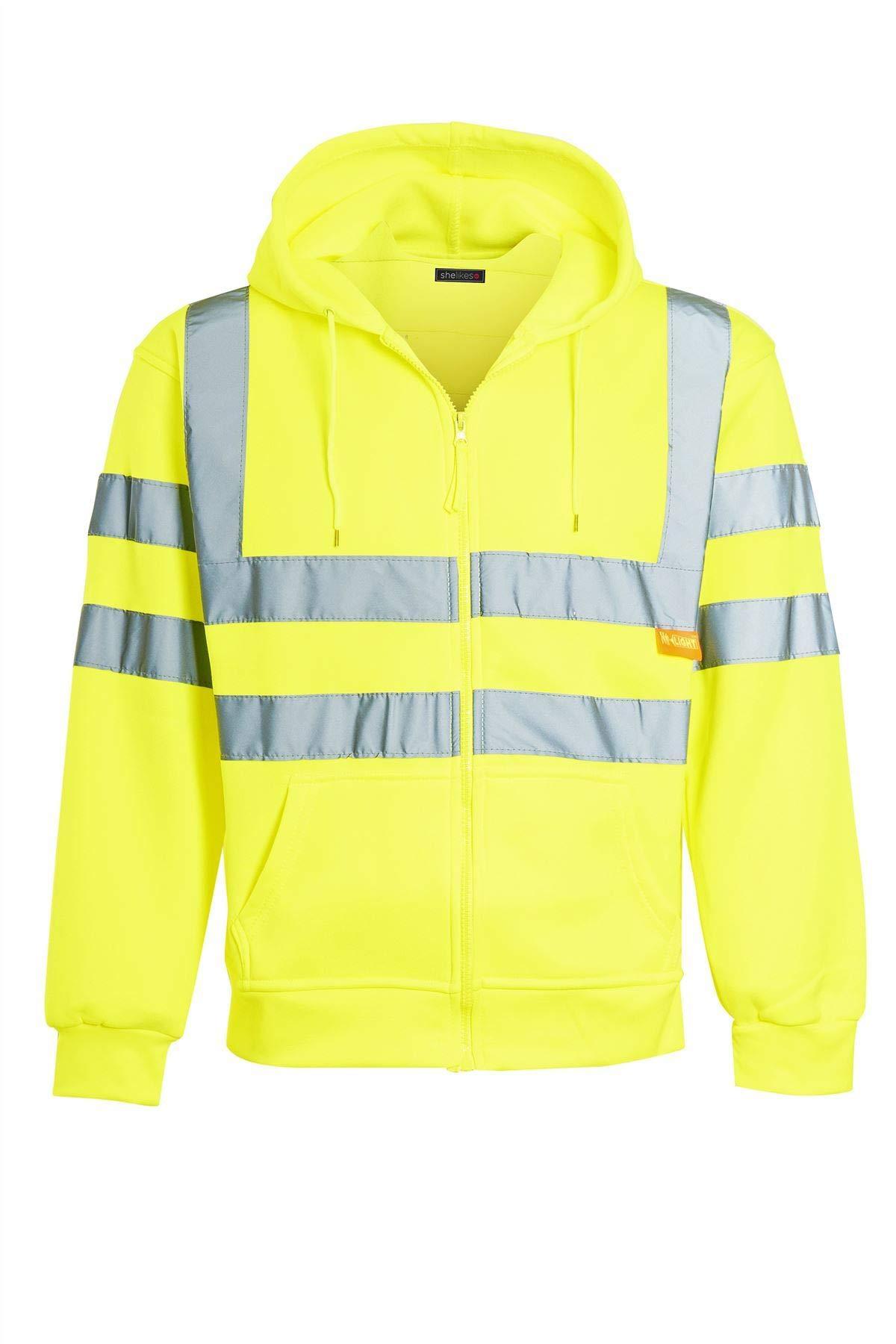 Shelikes Mens Zip up Fleece Hoody Hooded Hi Viz Visibility Sweatshirt Safety Security Work Jumper Top [Yellow XLarge]