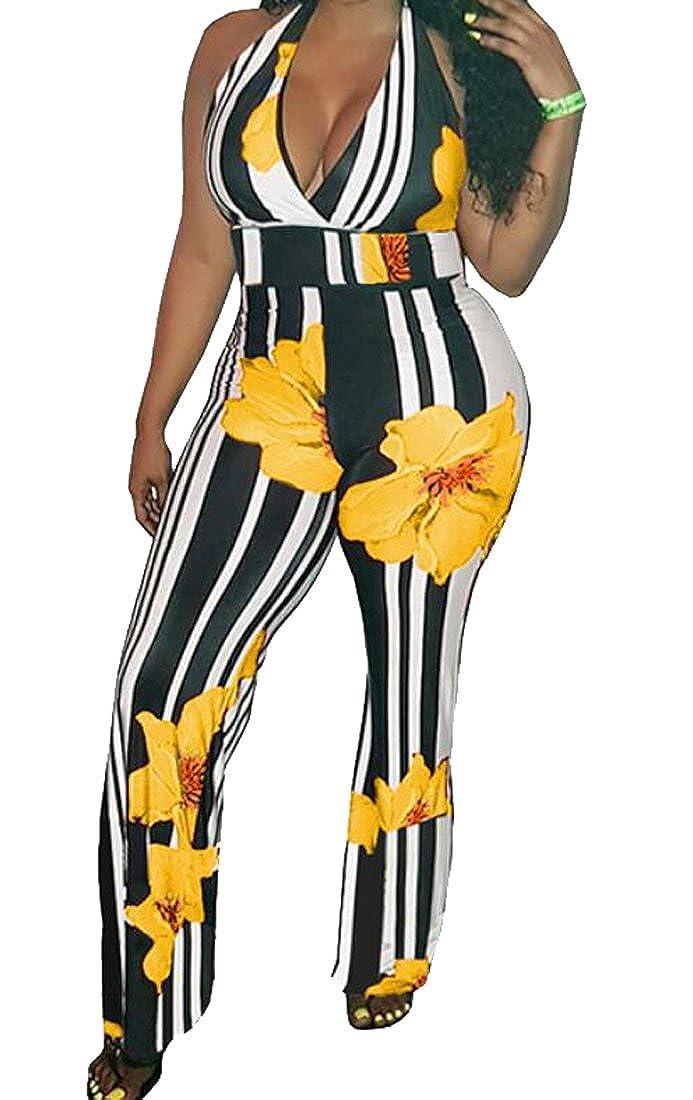 Bloomyma-Women Tunic Printed Deep V Neck Wide Leg Palazzo Lounge Pants Jumpsuit Romper
