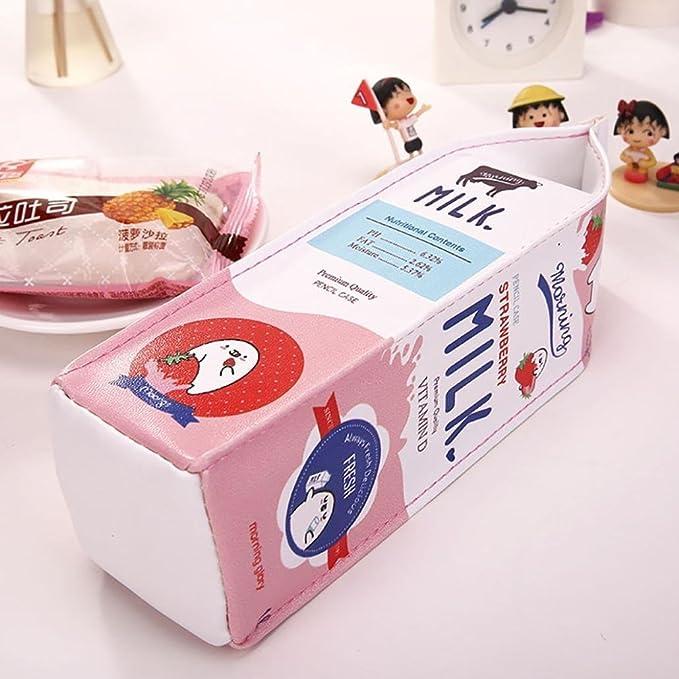 Fablcrew - Estuche con cremallera, diseño de cartón de leche, color rosa 20*5*6 cm