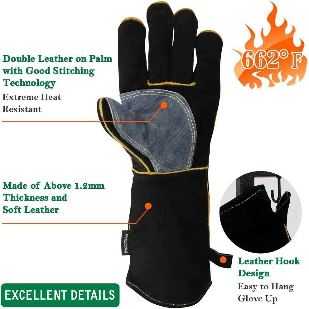 Working Protect Gloves Heat Fire Resistant Oven Safety Mitts for BBQ Camping Cooking Baking Grill Welder Fireplace Stove Pot Holder Mig Yellow and Black Leather Welders Gloves