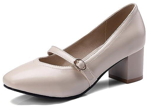 0b40b52c0c1 IDIFU Women s Dressy Low Top Square Toe Slip On Mid Chunky Heel Mary-Jane  Pumps