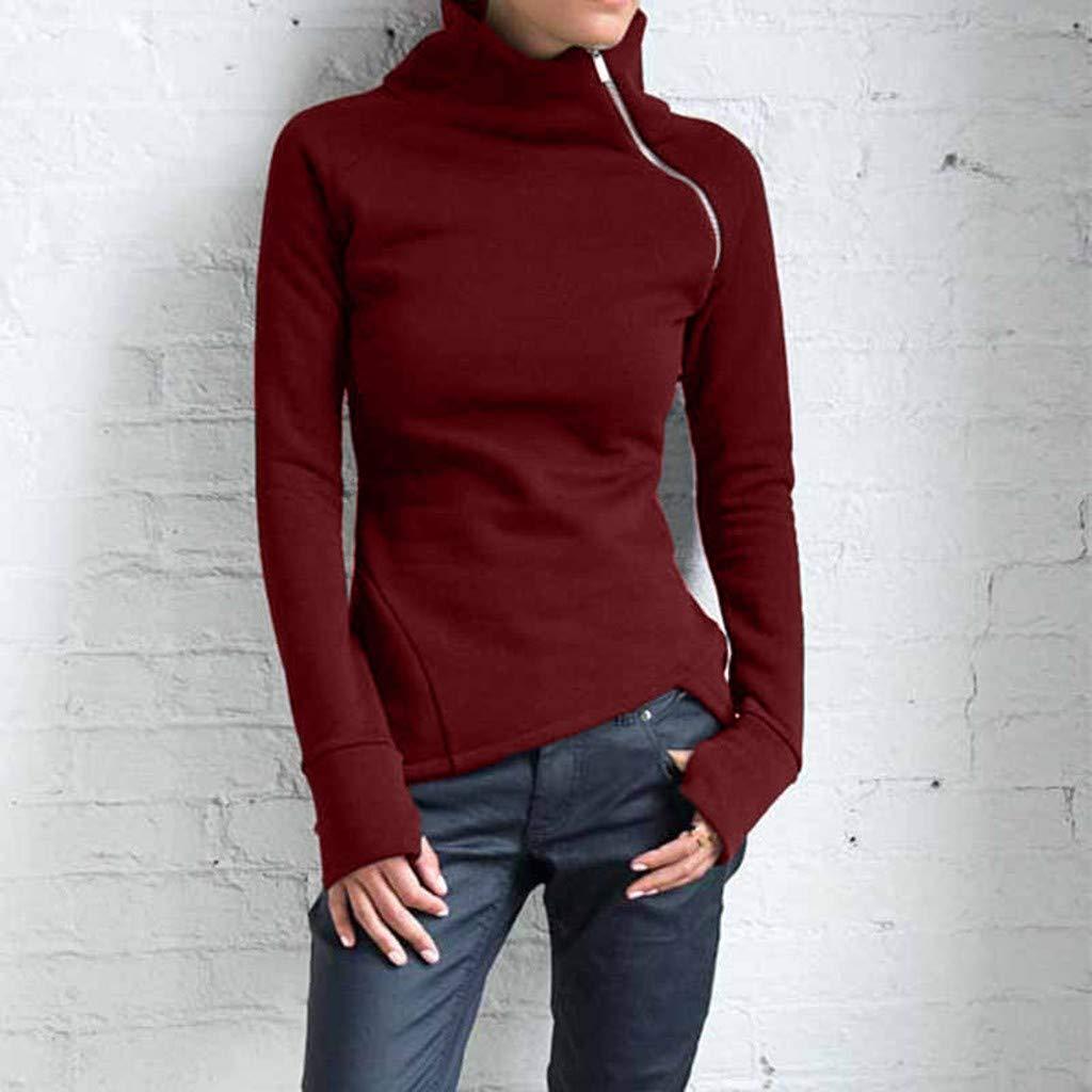 MINIKIMI Sweatshirt Damen Oversize Hochwertig Rollkragenpullover L/äSsige Elegant Langarm Mit Rei/ßVerschluss Sweatshirtjacke Pulli Oberteile