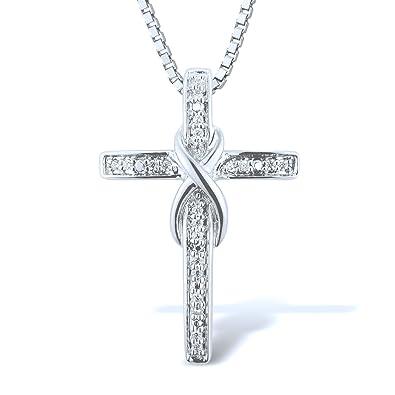 Amazon.com  Diamond Necklace in Sterling Silver (.08 cttw - HI fe60e650b
