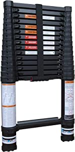 Zonex Xtend & Climb Contractor Series 155+ 15.5 Feet Telescoping Folding Ladder for Home and Professional Use, Telescopic Technology, Collapsible Ladder, Aluminum Retractable Ladder