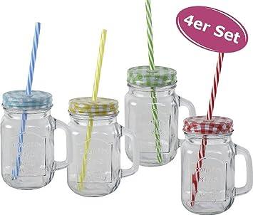 6 Gläser Retro Summer 400ml Trinkglas mit Deckel Strohhalm Becher Garten Party
