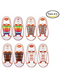 Pack of 4 No Tie Elastic Shoelaces For Kids and Adults with Free Tool, Konsait No-Tie Silicone Shoe Laces Waterproof Rubber Running Shoe Laces for Sneakers Board Casual Shoes(Black+White+Gray+Rainbow)