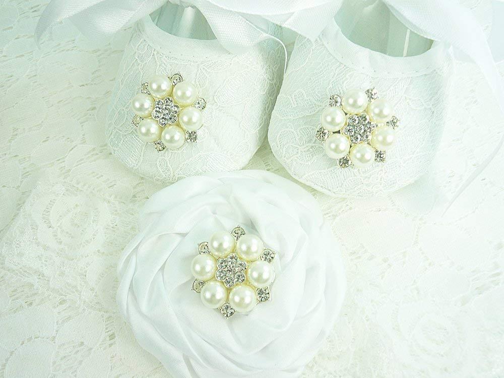 Baby Girl White Christening Baptism Wedding Shoes Rhinestone Lace Headband
