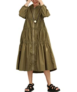 c0695004c1 YESNO QT0 Women Zip-Up Blouse Dress Hooded Trench Jacket Casual Chic  Elastic Pleated