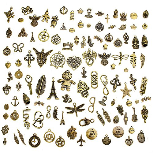 Wholesale 100G(Approx 70-80PCS) Antique Bronze Mixed Charms Pendants DIY for Jewelry Making and -