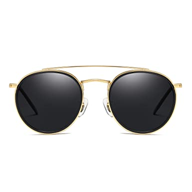 1fbbbf42c5a5 Round Polarized Aviator Sunglasses Metal Frame Flat Circle lens Glasses Men  Women (Gold Alloy Black