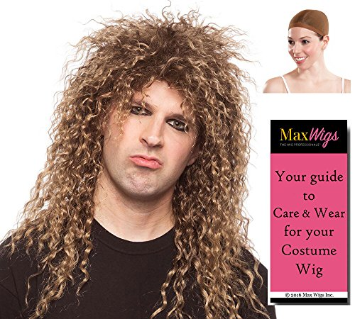 Rocker Guy Color Mixed Blonde - Enigma Wigs Ozzy Curly Rock-n-Roll Sebastian Bach Bundle w/Cap, MaxWigs Costume Wig Care Guide]()