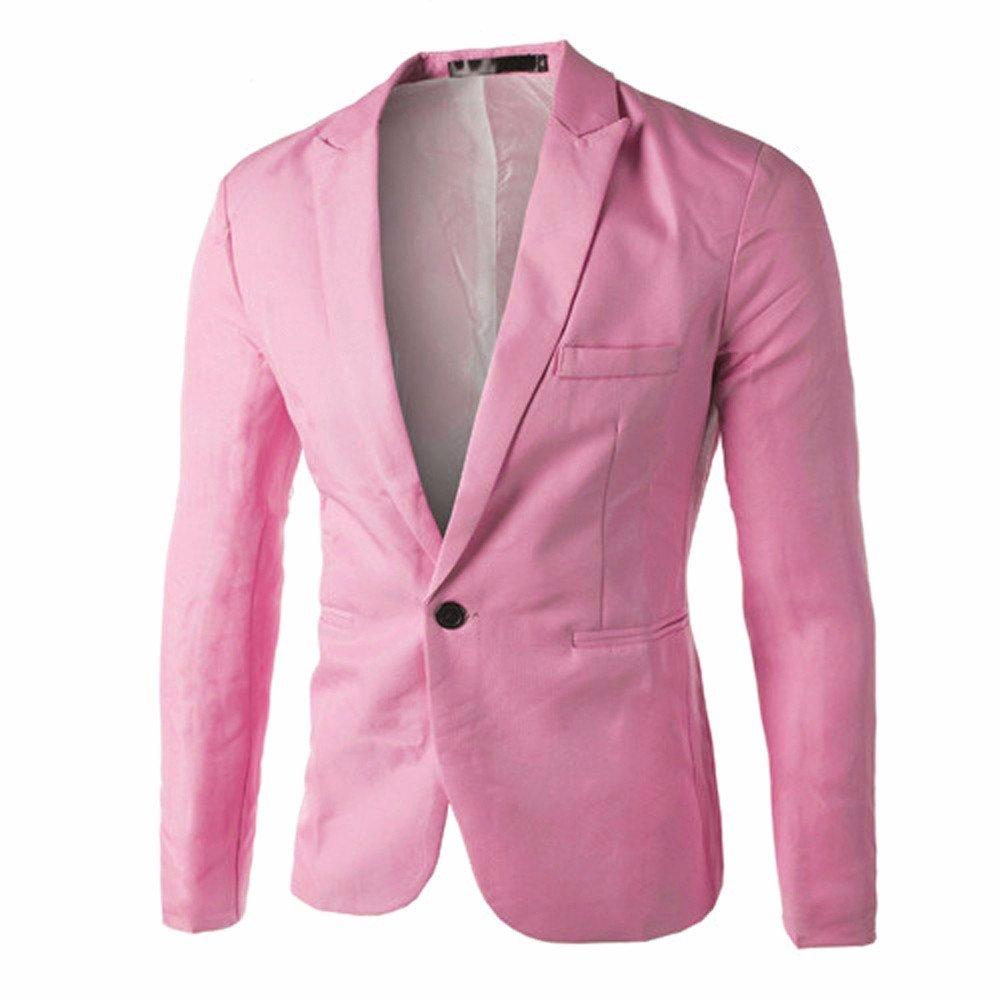Men's Suit Vest Navy,Charm Men's Casual Slim Fit One Button Suit Blazer Coat Jacket Tops Men Fashion,Men's Activewear,Pink,3XL