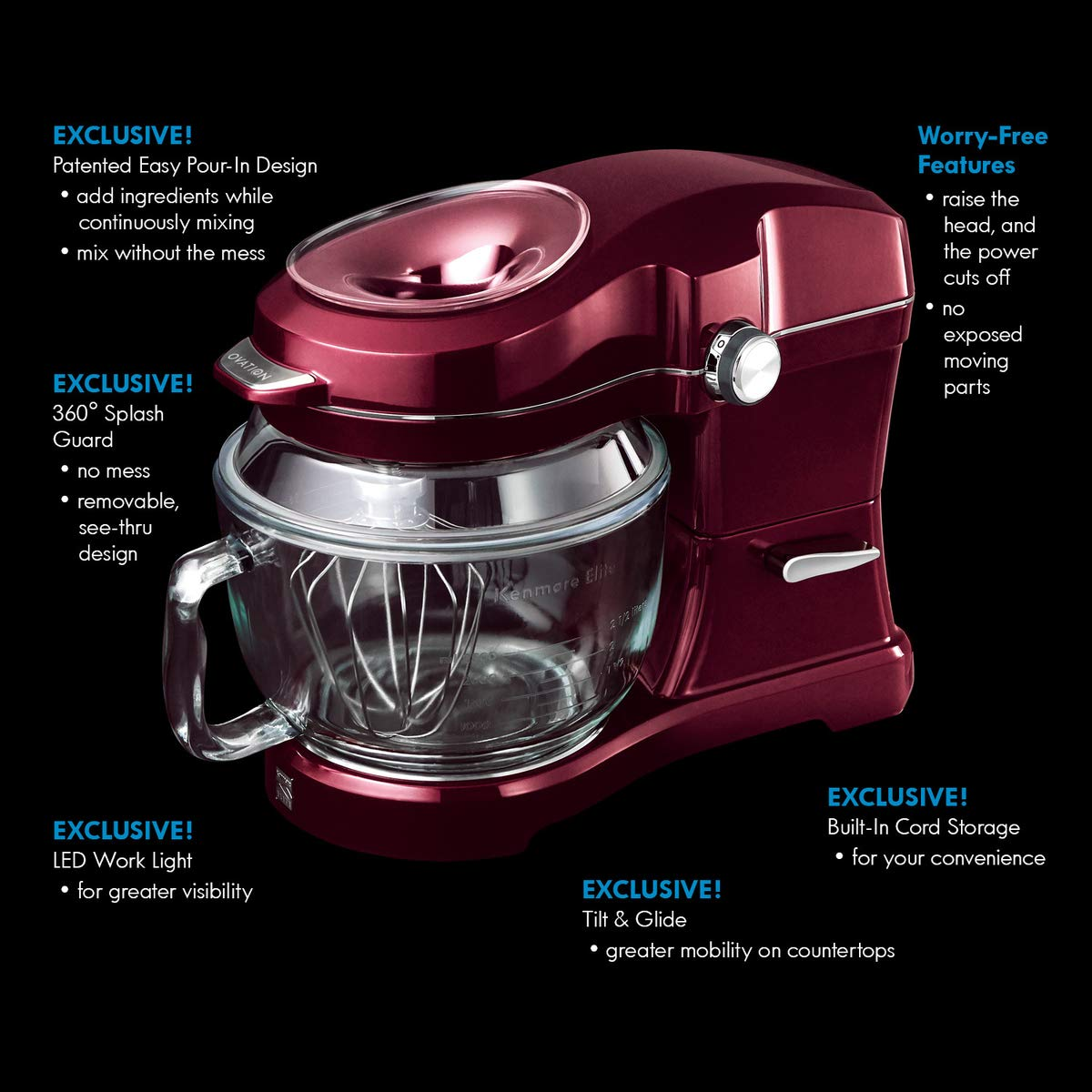 Kenmore Elite Ovation 49083 Exclusive Pour-In Top, 5-Qt. Tilt-Head Kitchen Stand Mixer, Red Burgundy by Kenmore (Image #3)