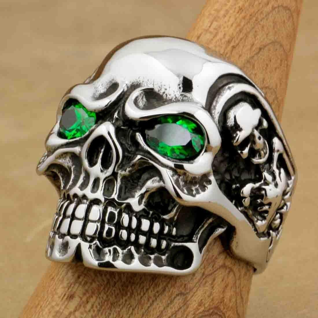 Men/'s Heavy Skull Eye Patch Biker Ring Stainless Steel Band New 31mm Sizes 8-15