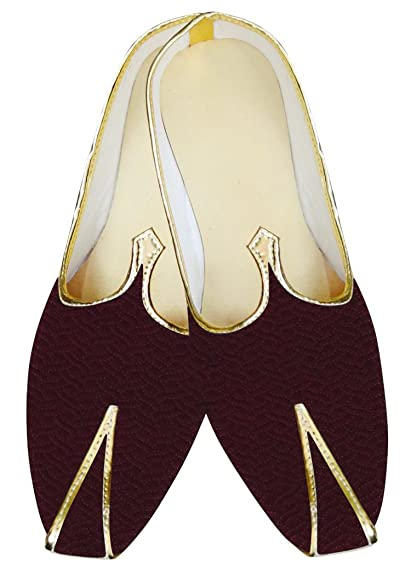 Mens Wine Indian Wedding Mojari Shoes MJ015625