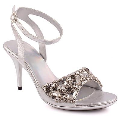 dd6b5b51e Unze New Women Ladies Limelight Embellished Evening Party Wedding Prom  Slingback High Heel Sandals Shoe UK