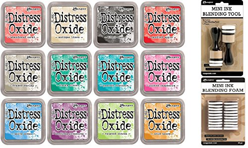 Tim Holtz Distress Oxide Ink Pads Set of 12 and Mini Ink Blending Tools Round with Replacement Foams ()