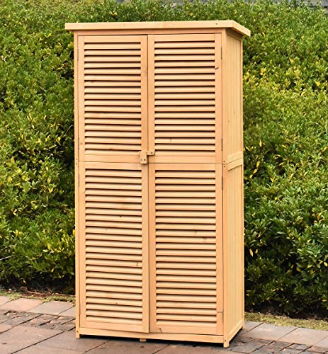 TITIMO 63″ Outdoor Garden Storage Shed – Wooden Shutter Design Fir Wood Storage Organizers – Patios Tool Storage Cabinet Lockers for Tools, Lawn Care Equipment, Pool Supplies and Garden Accessories