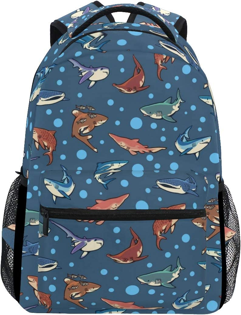 "Stylish Sharks Mako Backpack- Lightweight School College Travel Bags, ChunBB 16"" x 11.5"" x 8"""