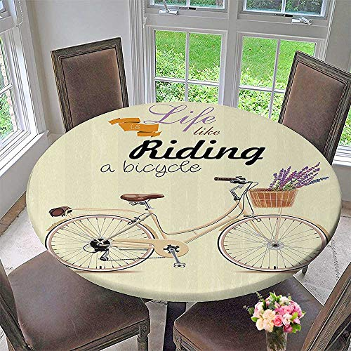 um Table Cloth Boho Pop Art Style Bike with an Aesthetic Bouquet Basket Perfect for Indoor, Outdoor 43.5