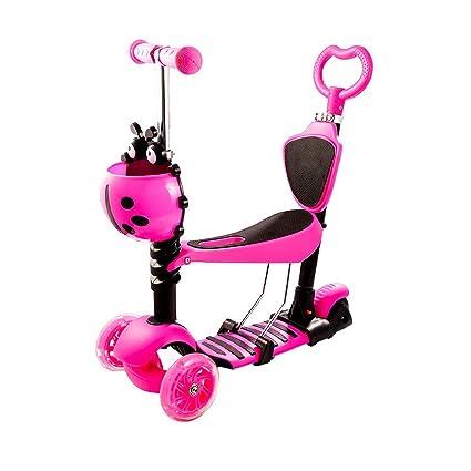 Qulista Patinete Plegable de 3 Ruedas LED Scooter Infantil con Mango Ajustable para Los Niños, Color Rosa