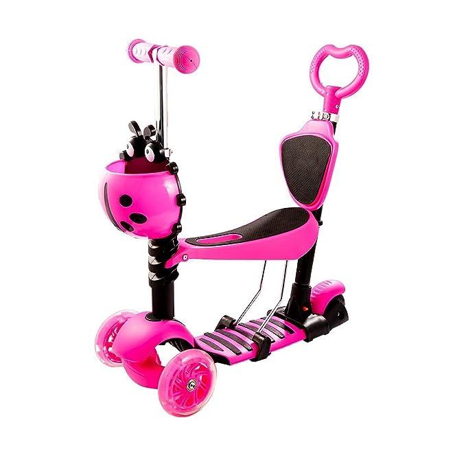 Lonlier Patinete Scooter Infantil con 3 Ruedas de LED para Los Niños Mini Monopatín