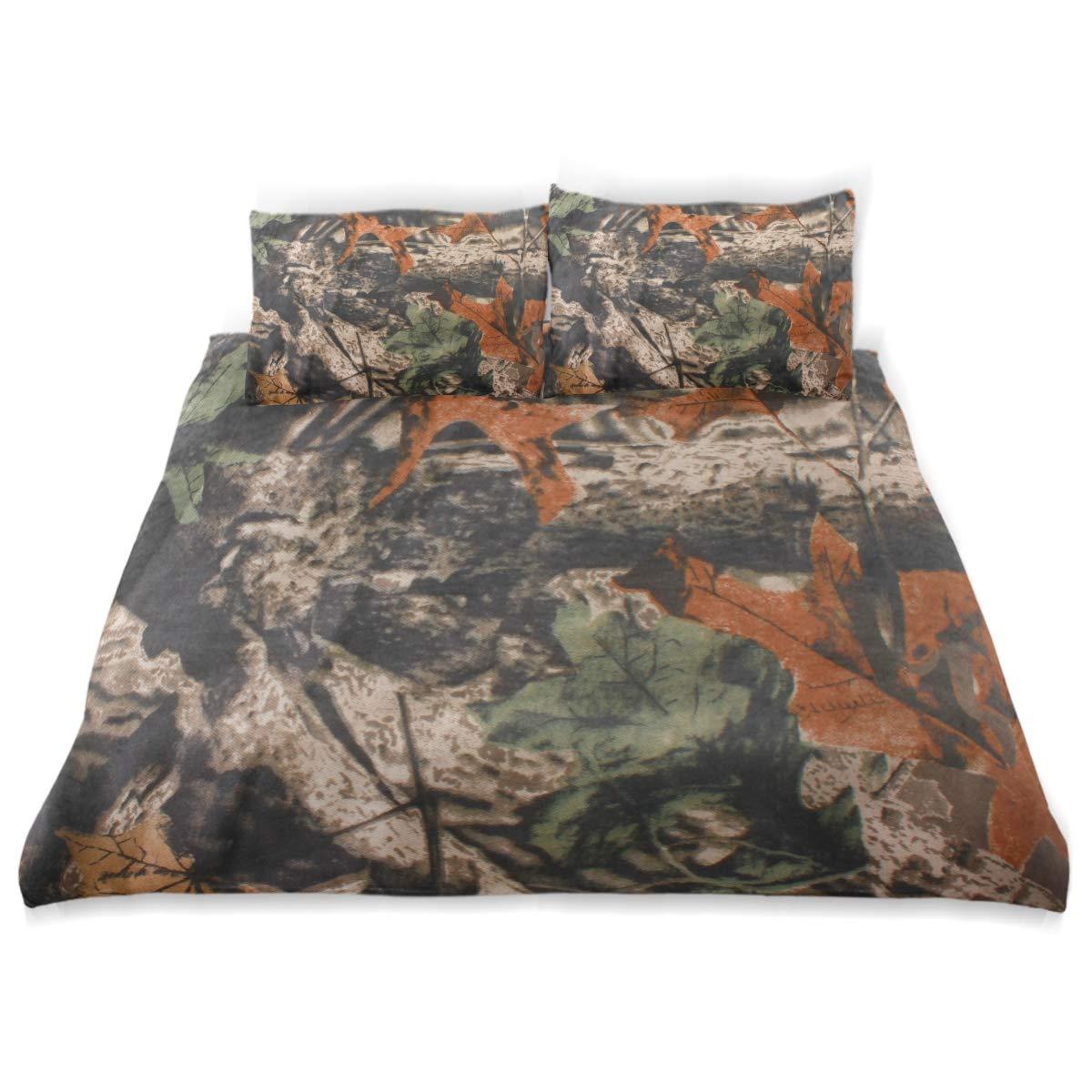ALAZA 迷彩柄 森の木 掛け布団カバー 3点セット 枕カバー2枚付き 寝具セット 装飾用 子供用 B07L8HMLSR