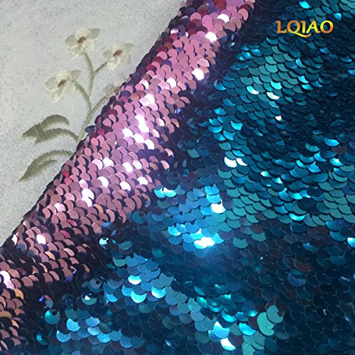 LQIAO New Turquoise Pink Sequin Fabric Mermaid Reversible Sequin Fabric Mesh Sequin Fabric Scale Fish Style Sequin Fabric for Girl Costume Dress/Lady Evening Dress Pillow Cover (Fish Sequin)
