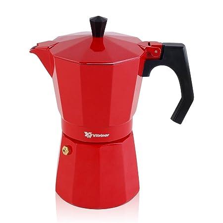 Vitrinor Cafetera Italiana, Rojo, 3 Tazas
