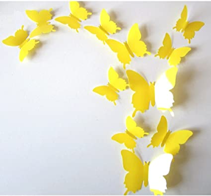 Amazon.com: CuteProduct 12Pcs 3d Butterfly Removable Wall Decals Diy ...