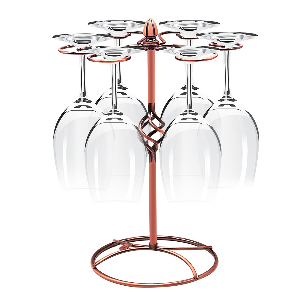 Sunnyac Classic Stainless Steel Wine Glass Cup Holder with 6 Hooks, Freestanding Tabletop Stemware Storage Rack with Air Dry System, Suit for Home and Bar Storage(Bronze 1)