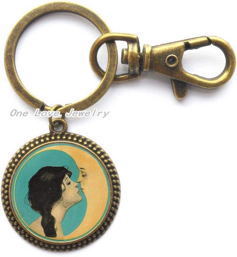 Ni36uo0qitian0ozaap Man in The Moon Kiss Key Necklace,Kiss The Moon Jewelry,Kiss The Moon Pendant,Kiss Moon Key Necklace,TAP160