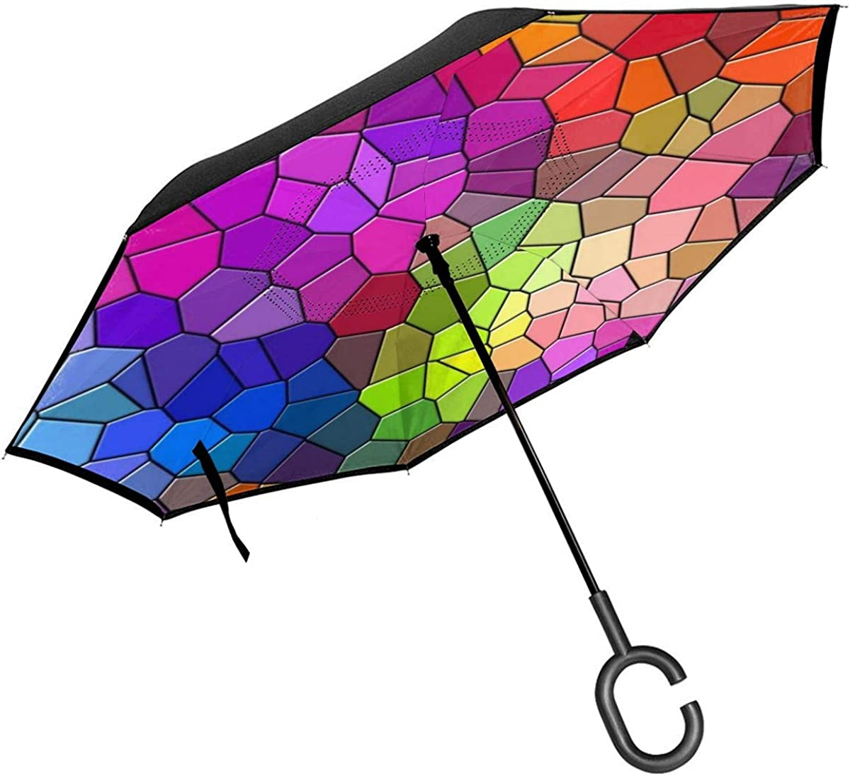Mosaic Multicolored Texture Patterns Wallpaper Reverse Umbrella Double Layer Inverted Umbrellas For Car Rain Outdoor With C-Shaped Handle Customized
