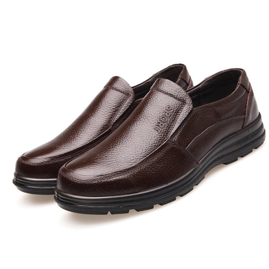 Jiyaru Mens Work Shoes Durable Restaurant Kitchen Chef Flats Business Shoe Brown US 9.5
