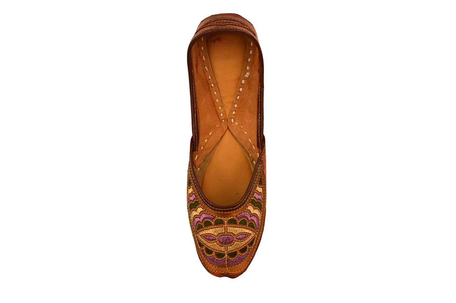 03a39edeb0aa Amazon.com: Handcrafted Women's Artisan Indian Slippers Womens Flat Shoes  Brown: Clothing