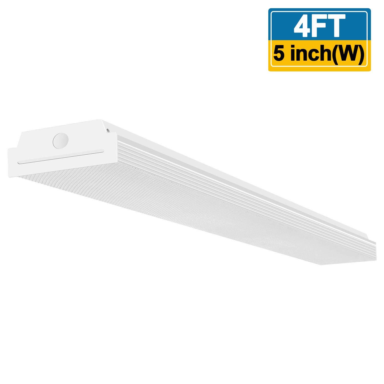 FaithSail 4FT LED Wraparound 40W 4 Foot LED Shop Lights for Garage, 4400lm 4000K Neutral White, LED Wrap Light, 4' LED Light Fixtures Flush Mount Office Ceiling Lighting, Fluorescent Tube Replacement
