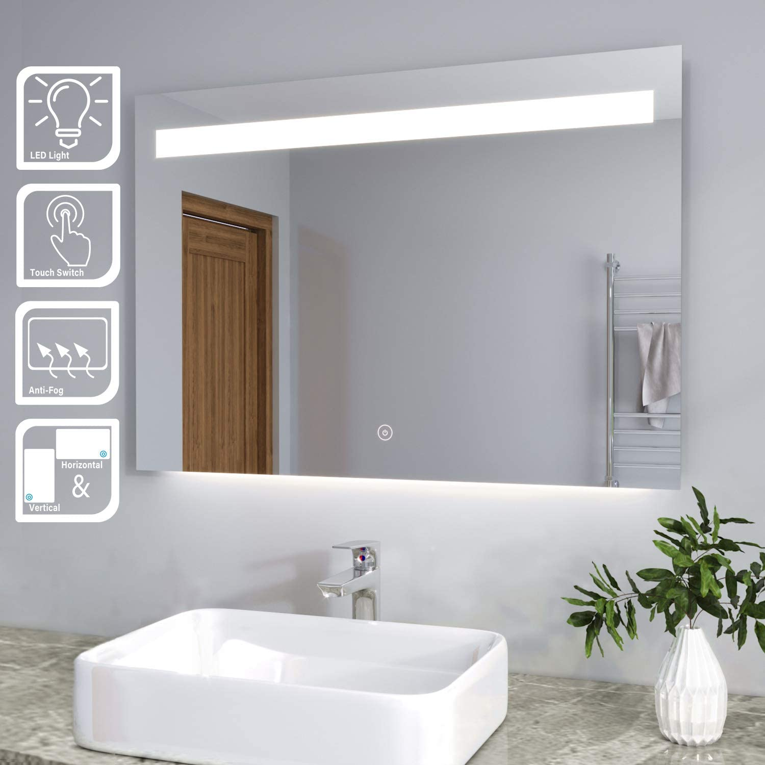 Elegant Modern Bathroom Mirrors Heated Backlit Led Illuminated Wall Mounted Mirror With Light And Additional Features Demister And Sensor Ip44 Rated 1000 X 700 Mm Amazon Co Uk Kitchen Home