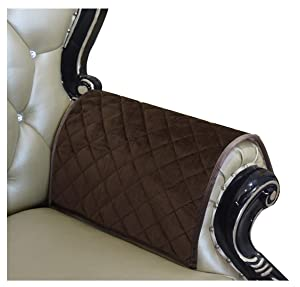 Haomaijia Coffee Nonslip Leather Couch Sofa Arm Protectors Quilted Furniture Protector for Dogs Kids Pets 2 Pieces (ALatte, Sofa Armrest Cover-2 Pieces)