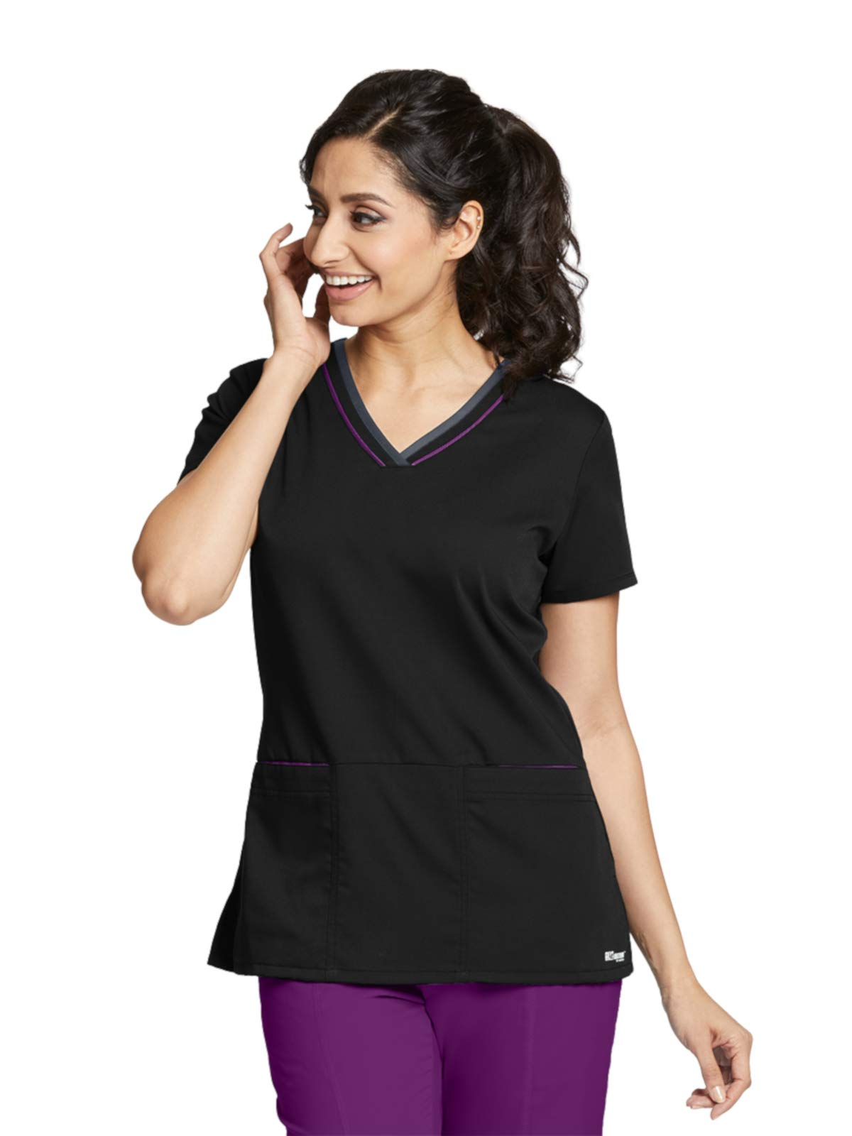 Grey's Anatomy Active 41466 Color Block V-Neck Top Black/Very Berry/Granite XS by Barco (Image #1)