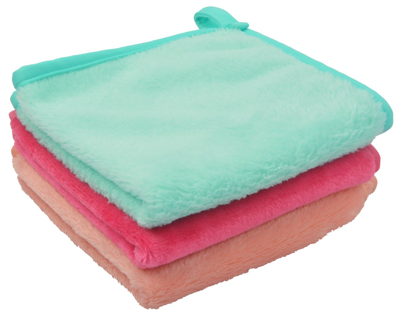 Sinland Flannel Plush Microfiber Makeup Remover Cloths Face Cleansing Towel Soft Washing Tool Light Green+Pink+Orange 12Inch X 12Inch Pack of 3
