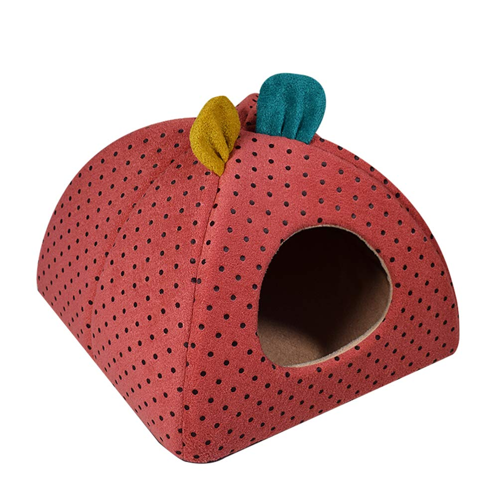 Brickred Small brickred Small Kennel Spring and Autumn Winter Warm Windproof yurt Cute Little Ears cat House Dog House,Brickred,S