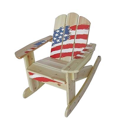 Lohasrus Kids Rocking Chair, American Flag Silk Screen