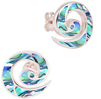 1d1fc7f58 DTPSilver - 925 Sterling Silver and Abalone Paua Shell Spiral Swirl Studs  Earrings: Amazon.co.uk: Jewellery