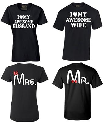 bc4312c68fc Amazon.com  i-Custom World Couple Shirts I Love My Awesome Husband Wife Mr    Mrs Matching Couples T-Shirt  Clothing