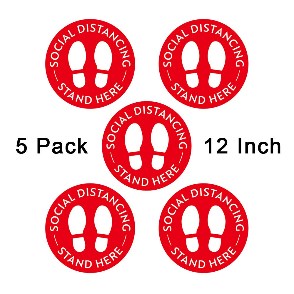 no Sticky Residue- Red Easy to Clean from Floor and Carpet 5pcs 12 Removable Safety Sign Waterproof Safety Floor Marker Stickers Social Distancing Floor Decals