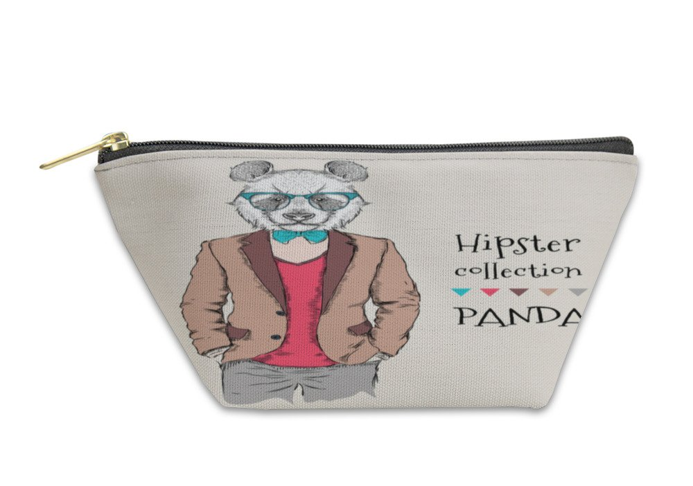 Gear New Accessory Zipper Pouch, Illustration Of Panda Hipster Dressed Up In Jacket Pants And Sweater, Large, 6038014GN by Gear New