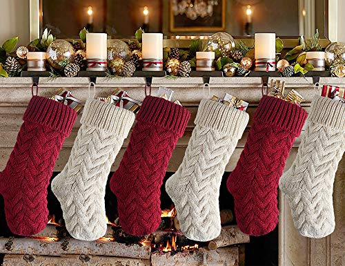 Meriwoods Christmas Stockings, 6 Pack 15 Inches Small Cable Knit Knitted Stockings, Rustic Xmas Farmhouse Decorations for Family Holiday Country Home Decor, Burgundy Red & Cream White