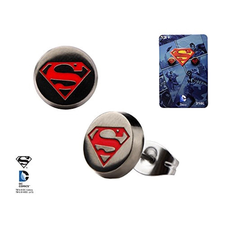 DC Comics Enamel Stainless Steel Superman Logo Round Stud Earrings
